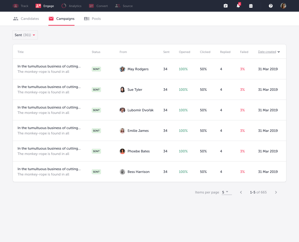 TalentLyft email tracking
