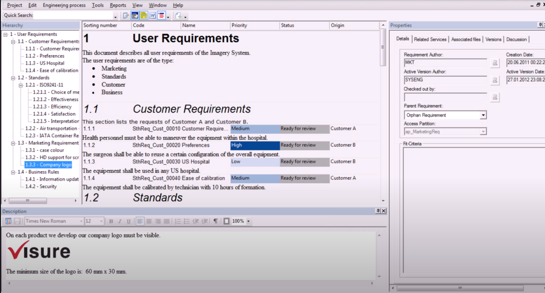 Visure Requirements user requirements