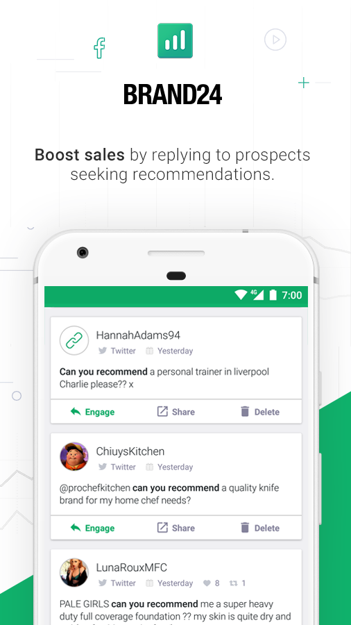 Track prospects from the native mobile apps and respond from any device