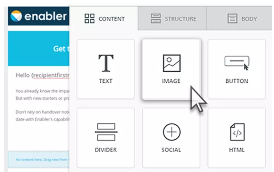 Enabler screenshot: Create responsive email templates with the simple drag-and-drop editor