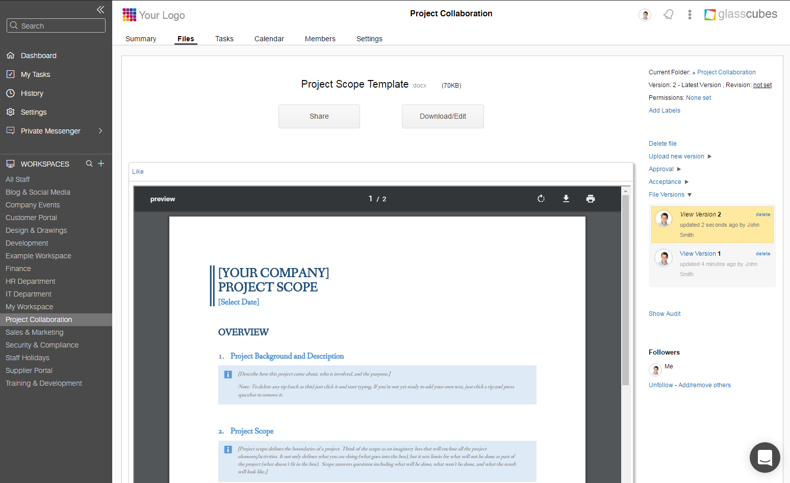 Glasscubes Software - Glasscubes Project scope template