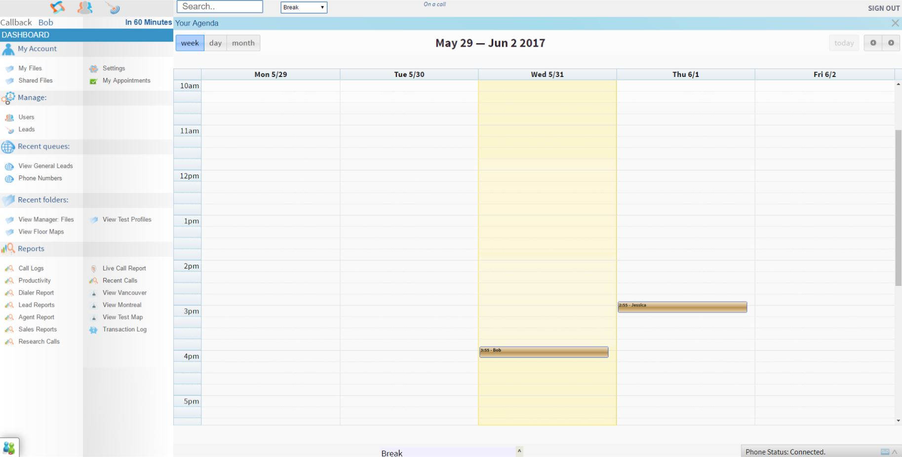 Schedule appointments and callbacks in a calendar.