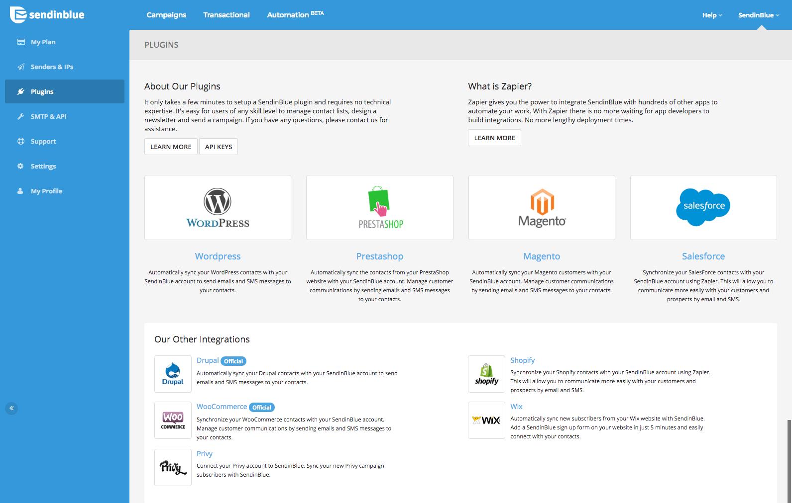 Sendinblue Software - Integrations