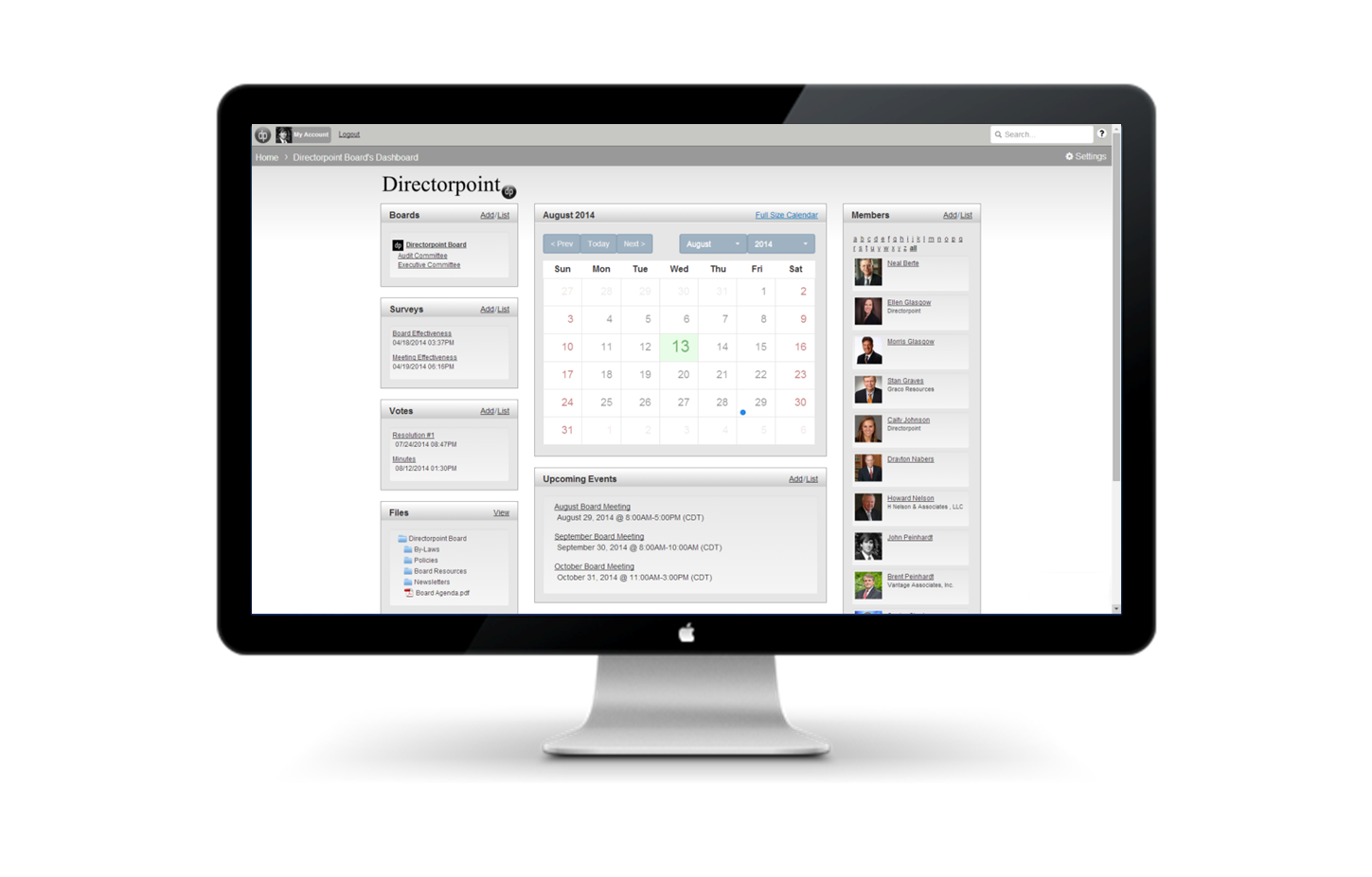 The dashboard enables users to manage calendars, view members, surveys, and more