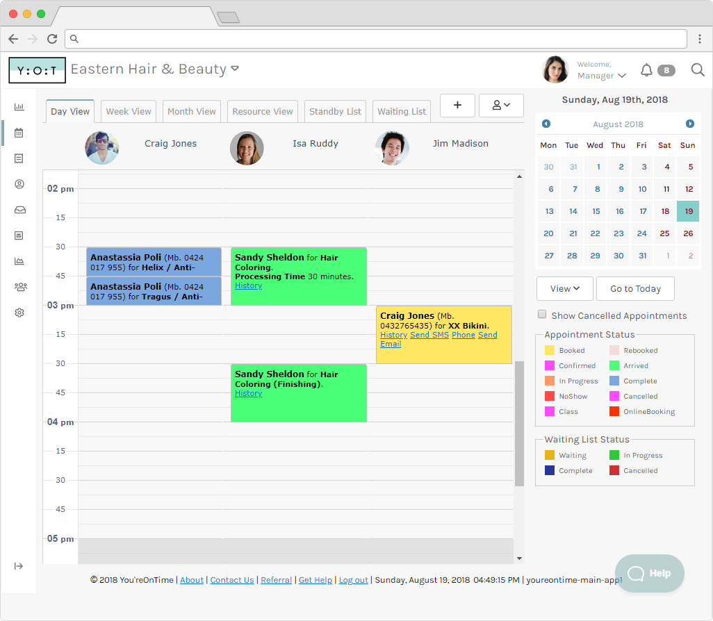 You'reOnTime screenshot: You'reOnTime offers a visual calendar for tracking upcoming appointments