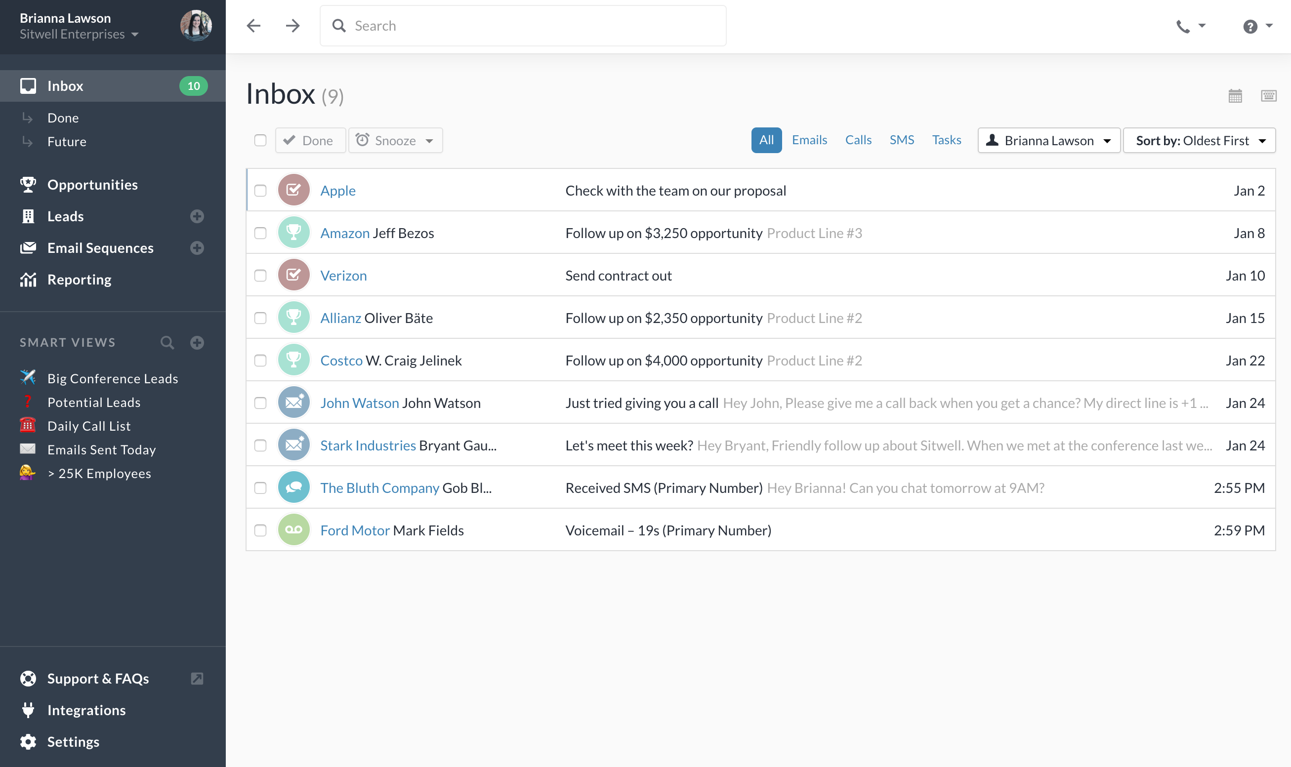 Close Software - Product inbox