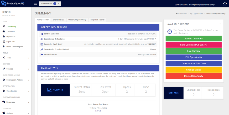 Review and track all quote details on the quote summary screen