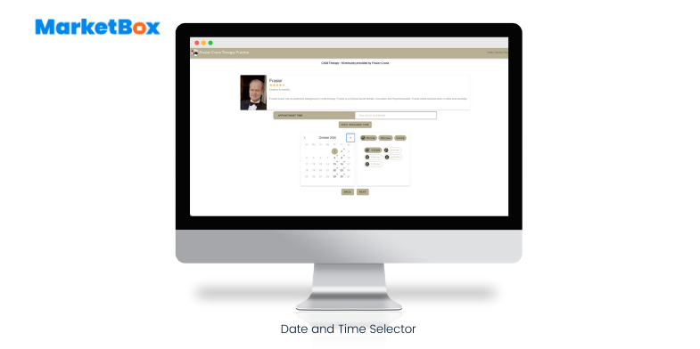 MarketBox screenshot: Date and Time Selector