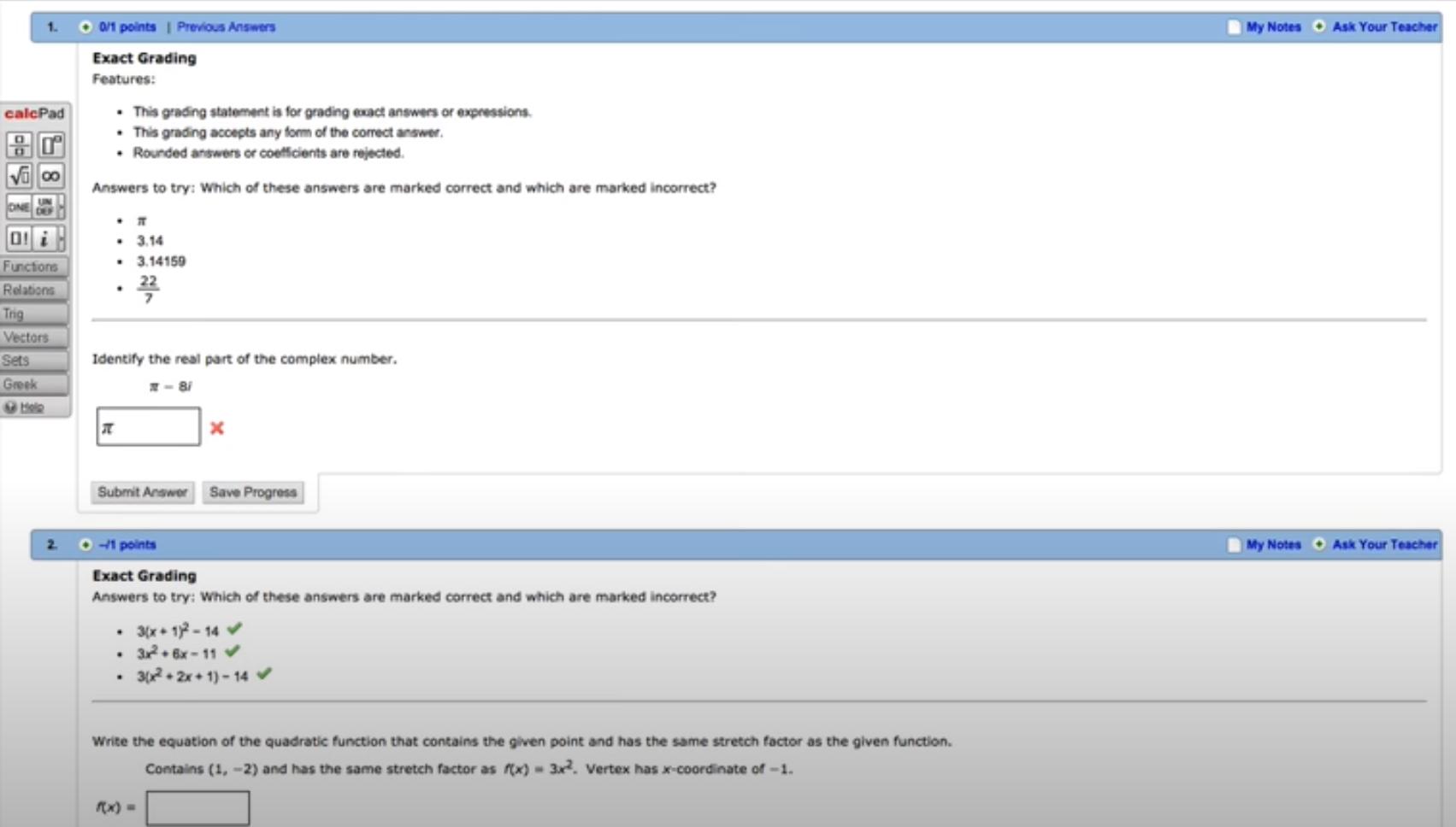 WebAssign student assignments