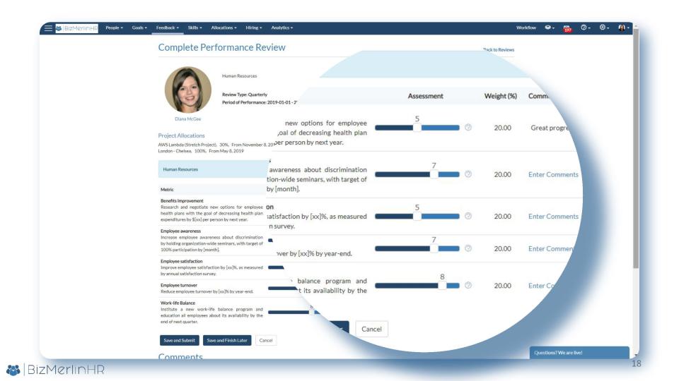 BizMerlinHR Software - View assessments