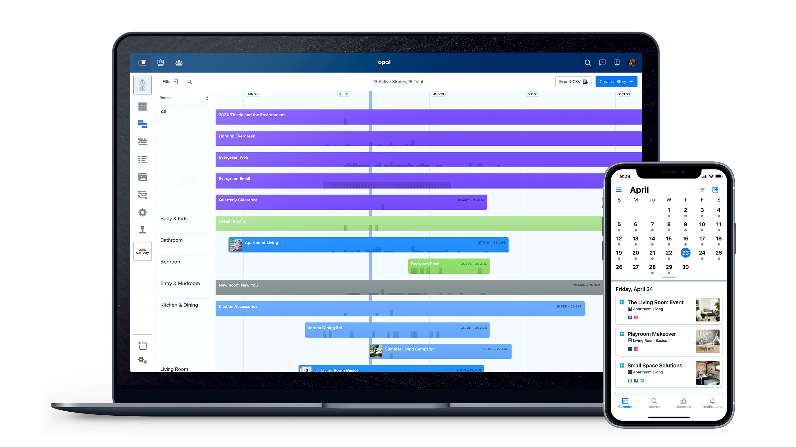 From Stories view, get visibility into all your brand campaigns, product launches, initiatives, or events that are taking place over time. A Story acts as a project space where your team can stay organized and efficient.