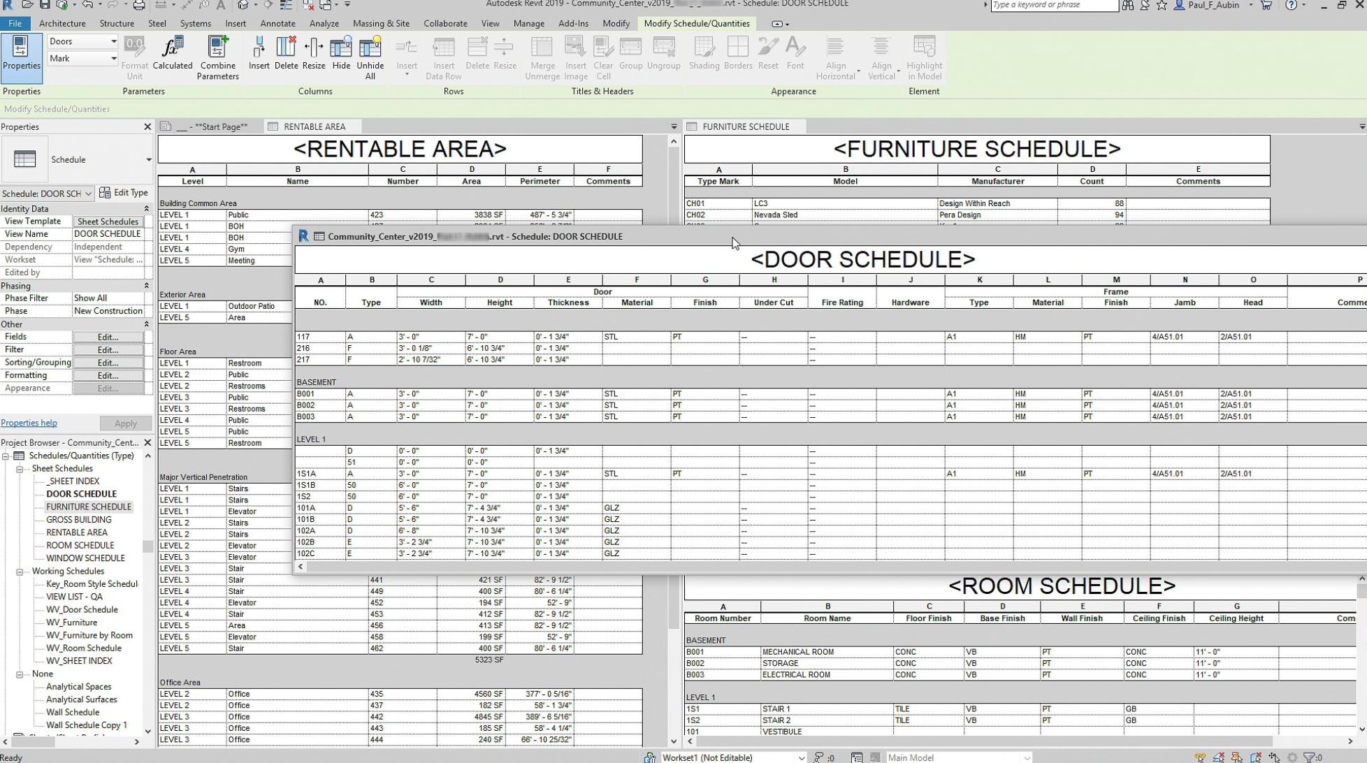 Revit Software - Revit project scheduling