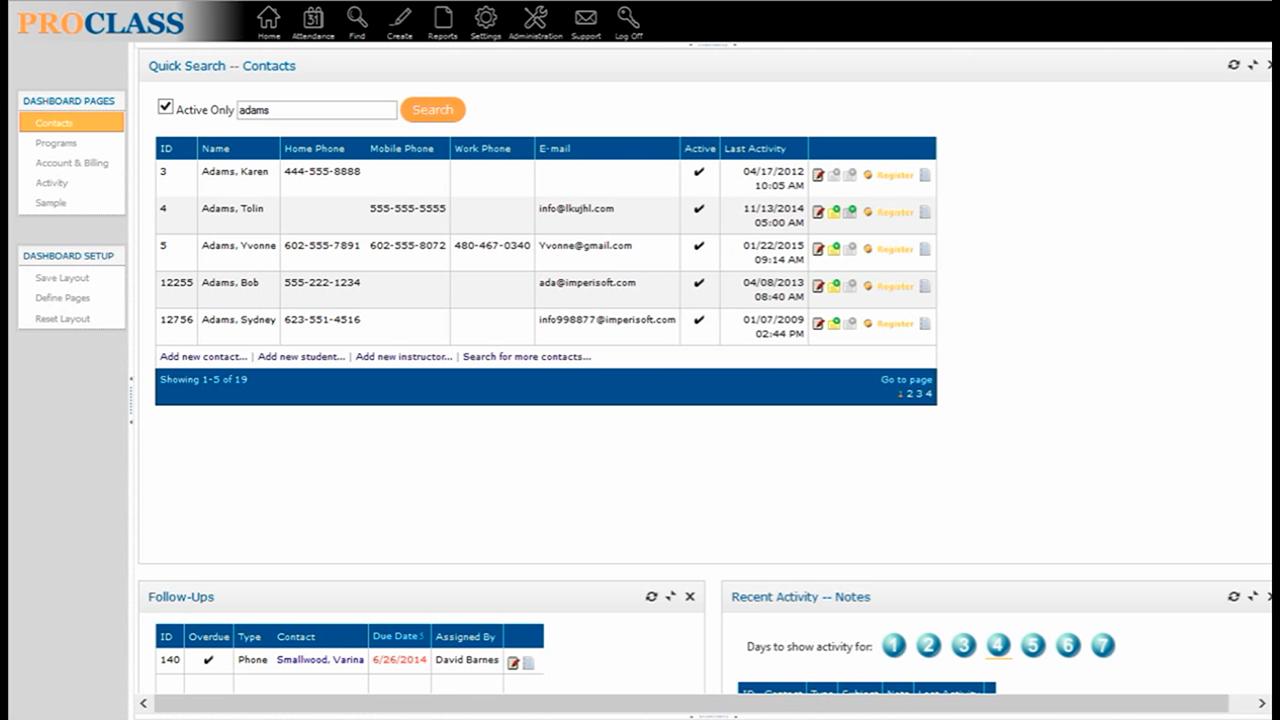 ProClass Software - ProClass homescreen