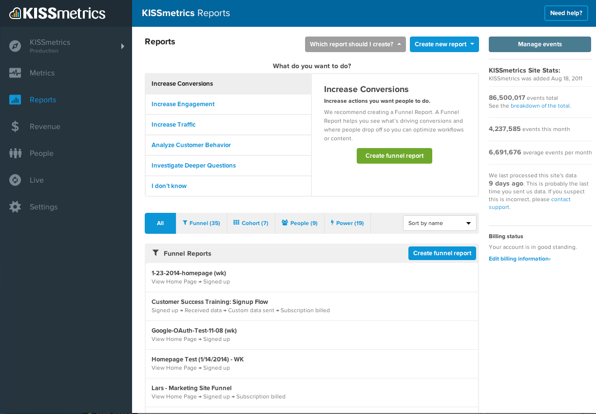 Generate Kissmetrics reports