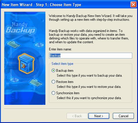 Handy Backup item wizard