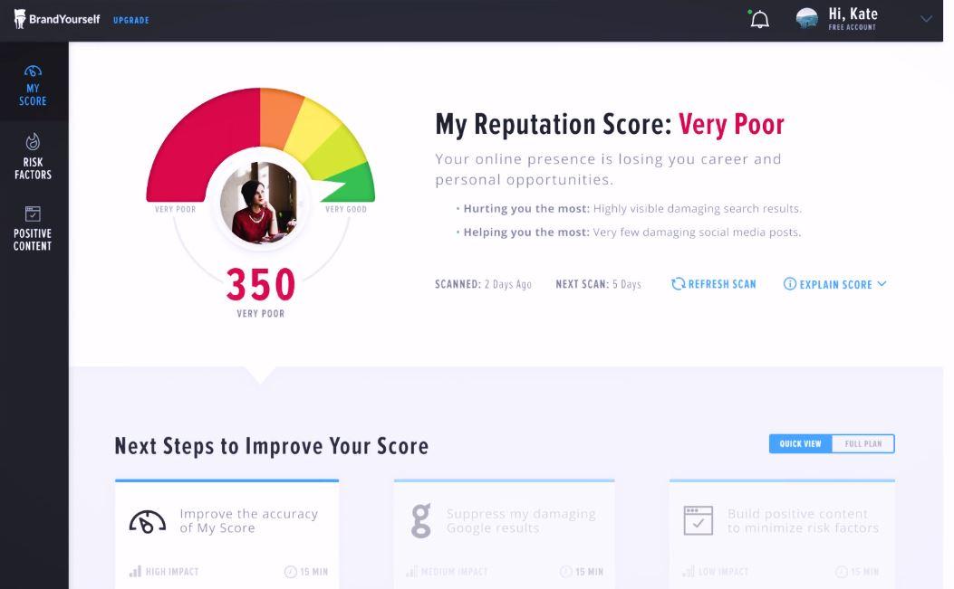 BrandYourself view reputation score