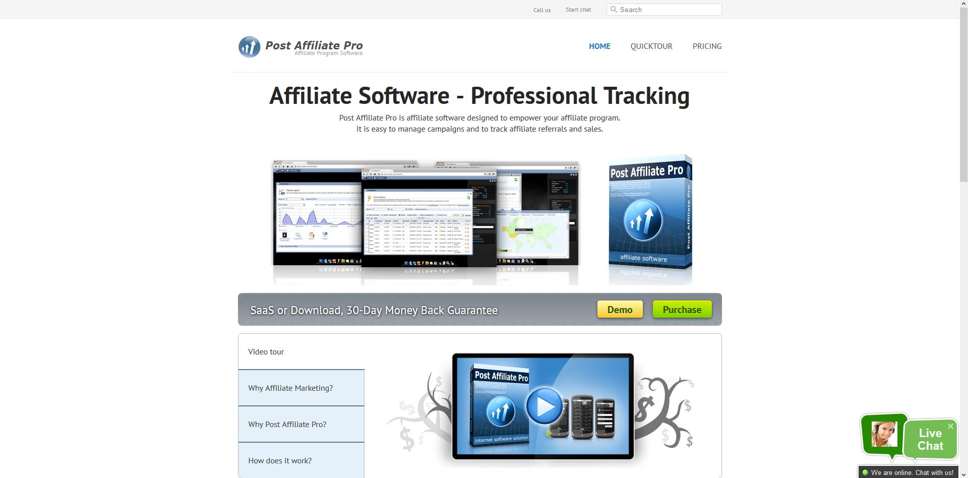 Post Affiliate Pro 4 Website