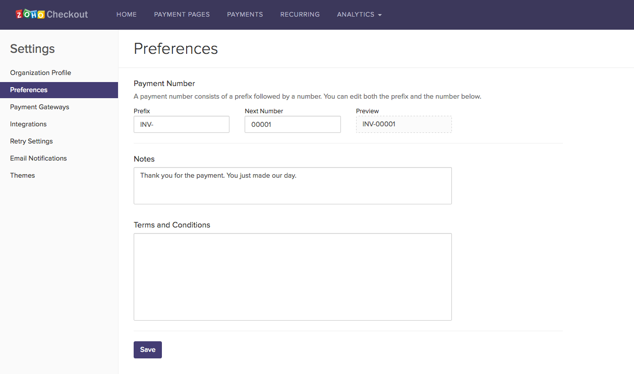 Users can add custom Terms and Conditions, and notes to their invoices