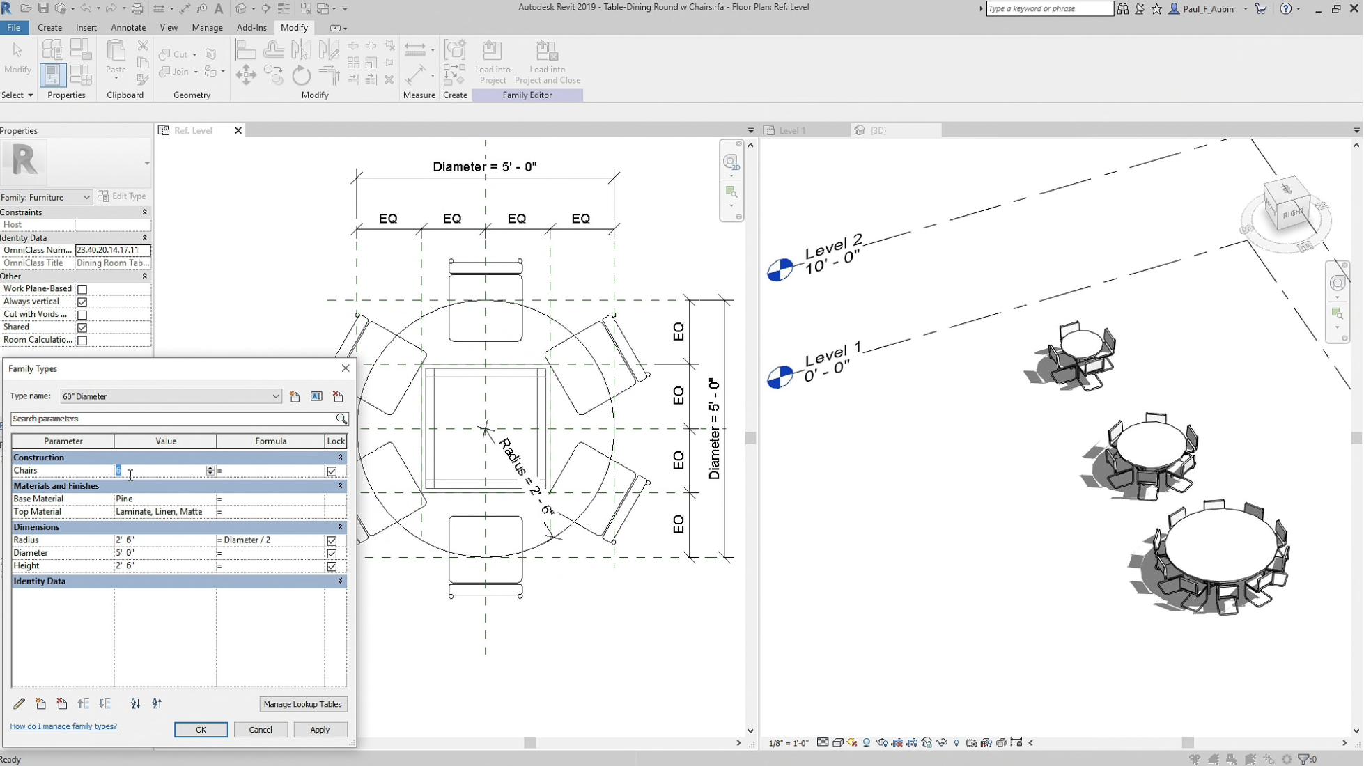 Revit parametric components