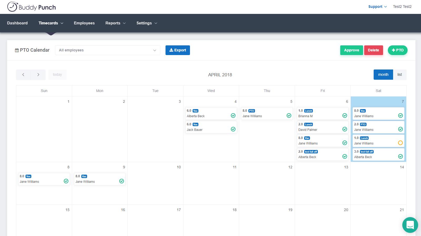 Buddy Punch Software - PTO Calendar