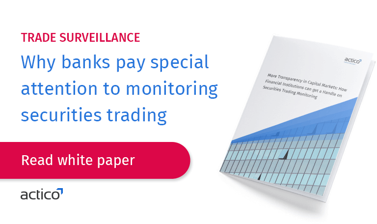 Actico's automatic monitoring checks the securities orders against scenarios that indicate market abuse, breaches of rules or insider trading. It monitors orders from customers, employees and from proprietary trading.