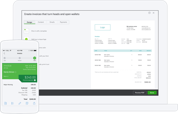 Create invoices from pre-designed templates