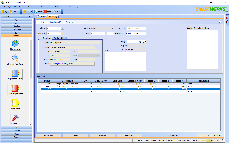 Smartwerks Software - P/O Entry