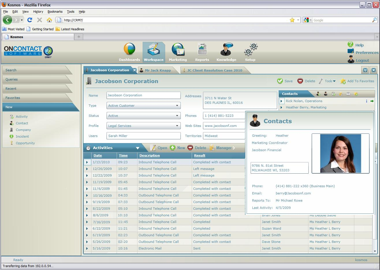 OnContact CRM 7 Software - Quick contact display