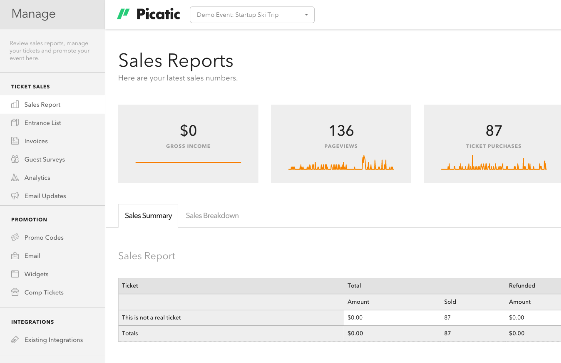 Picatic Event Management. Analyze how your event is performing and manage your entrance list.