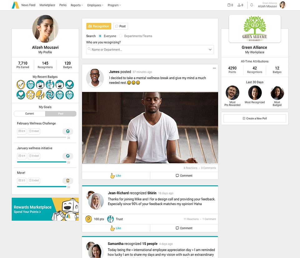 Applauz Recognition screenshot: Social recognition - Company Newsfeed