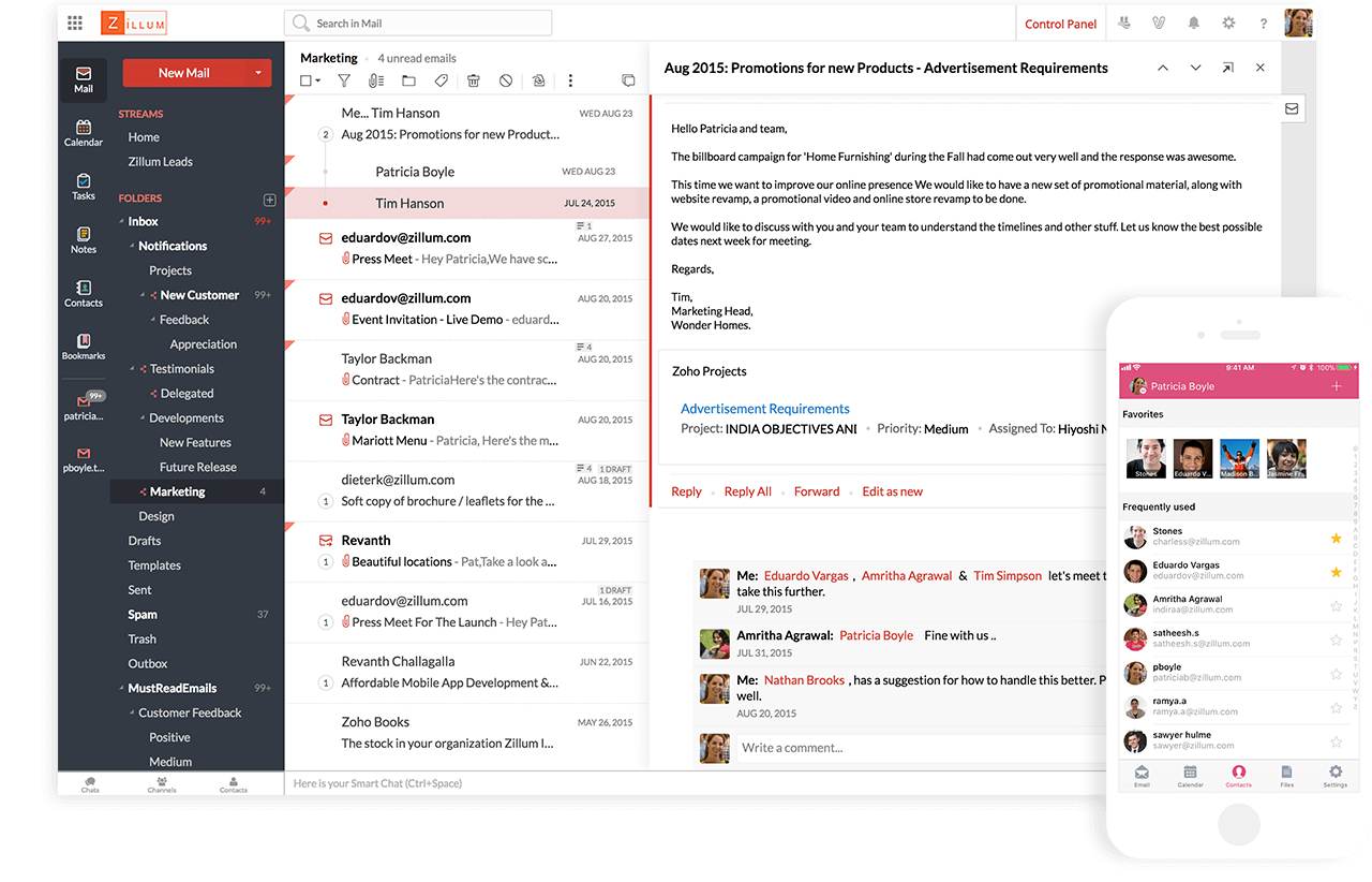 Zoho Mail provides users with access to all messages while on the move, helping keep email exchanges and communications flowing