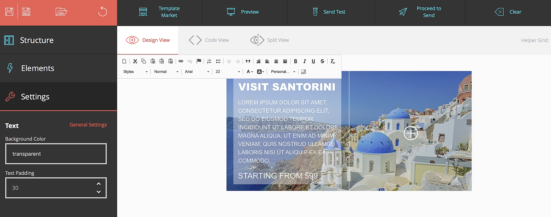 Users can edit text and images in a design view, code view, or split view