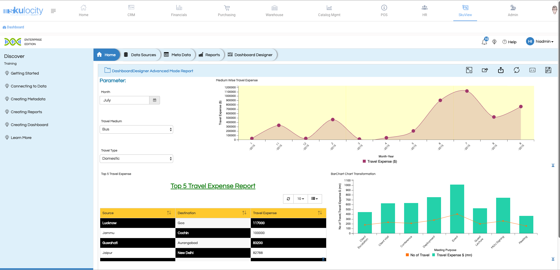 Skulocity business intelligence dashboard