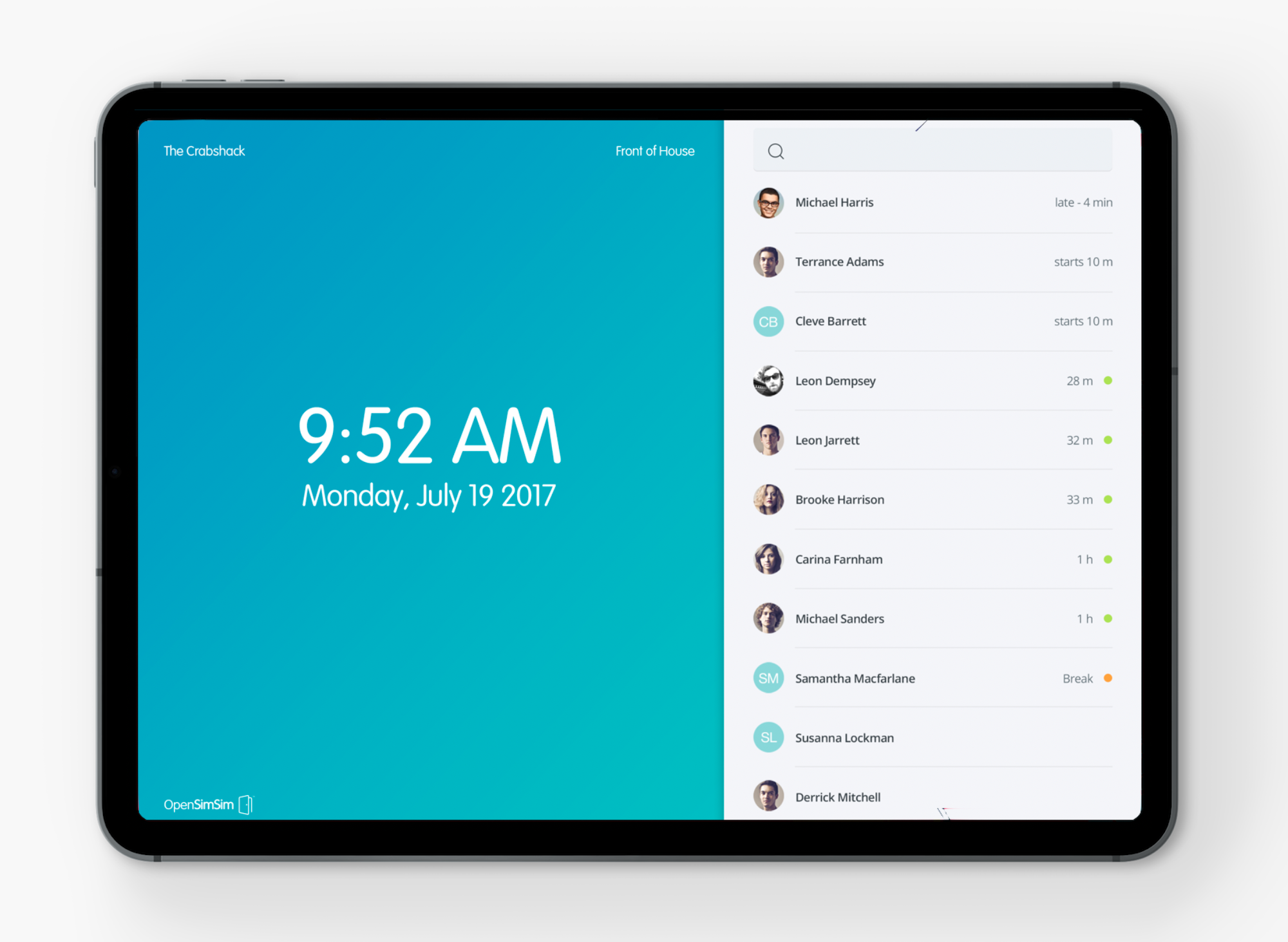 SocialSchedules Software - Free TimeClock tablet app (iOS & Android)