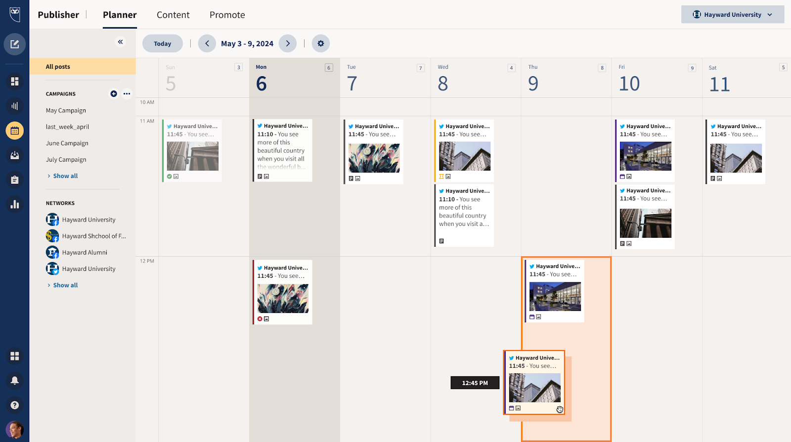 Scheduling: Plan social content as a team with an intuitive, shared planner that features collaborative post drafts and built-in approval workflows.