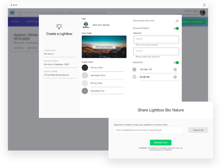Tweak DAM file sharing screenshot