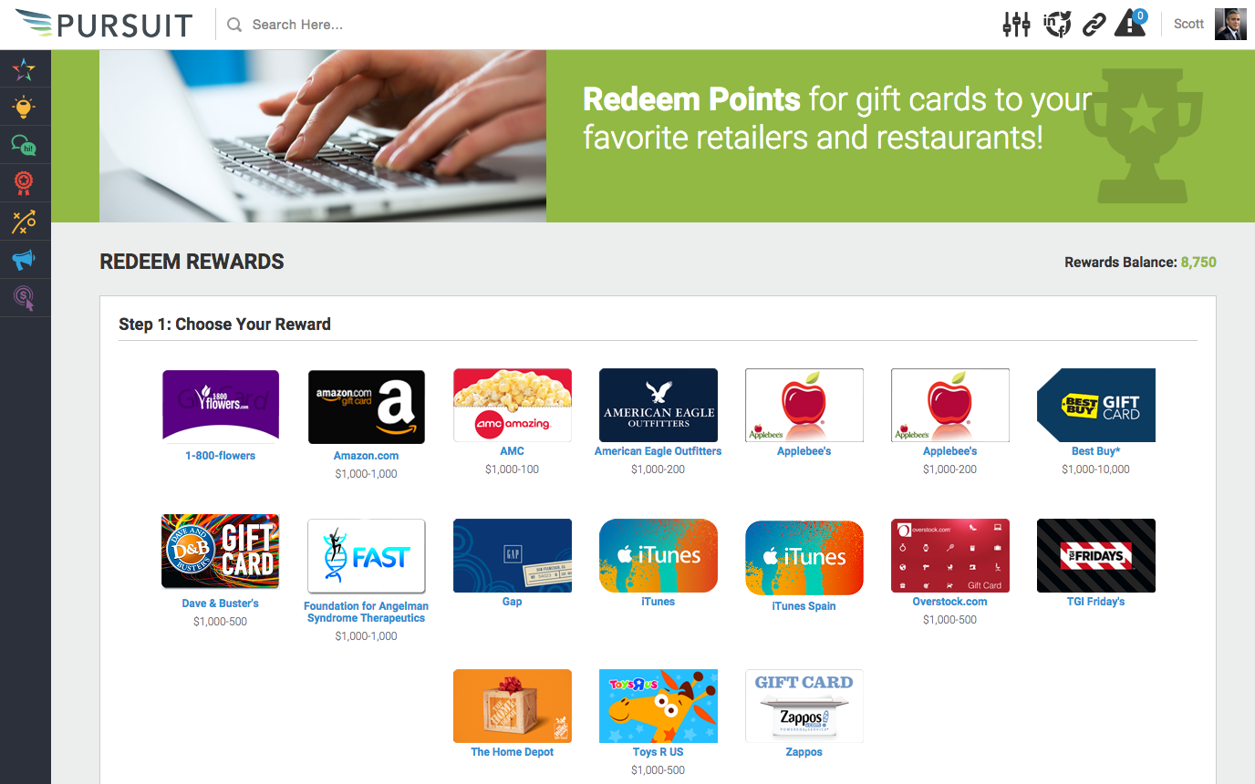 Allbound Software - Redeem rewards