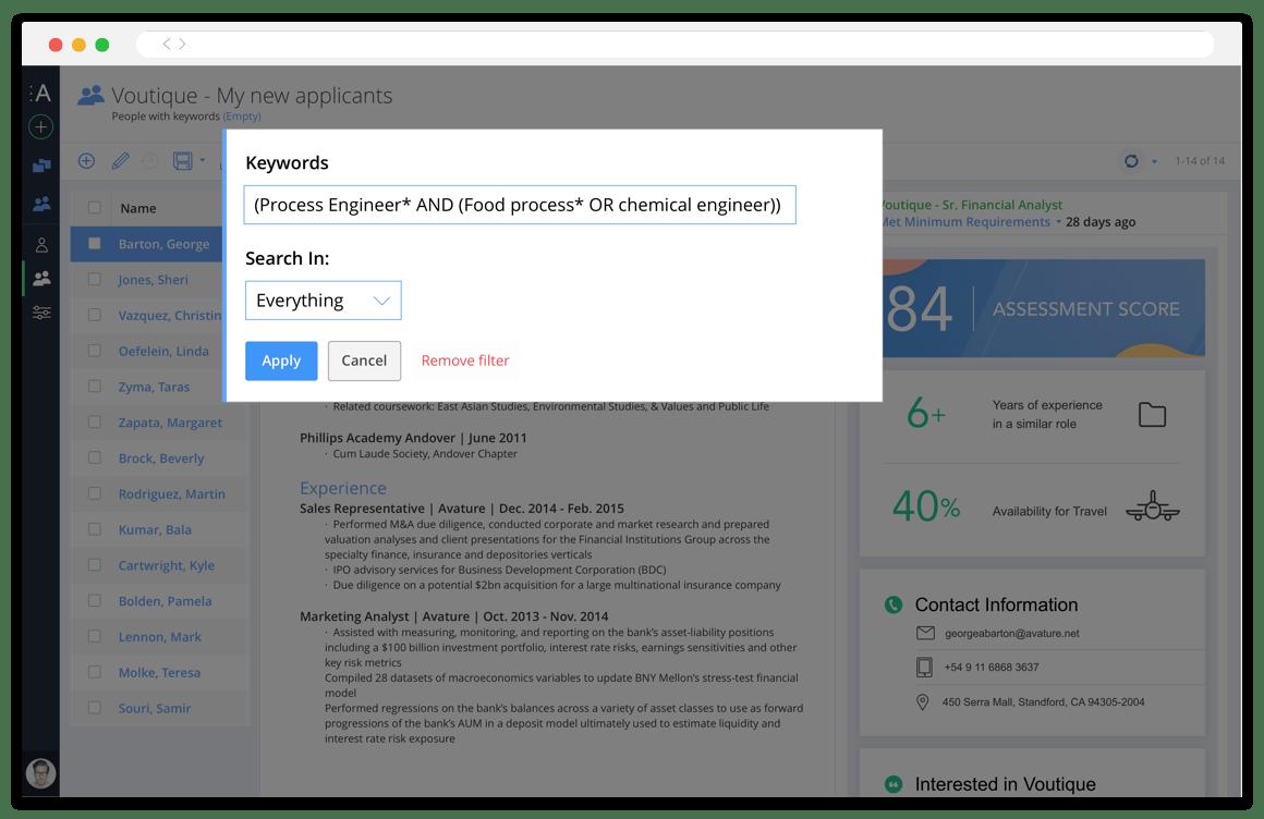 Avature Boolean keyword search screenshot