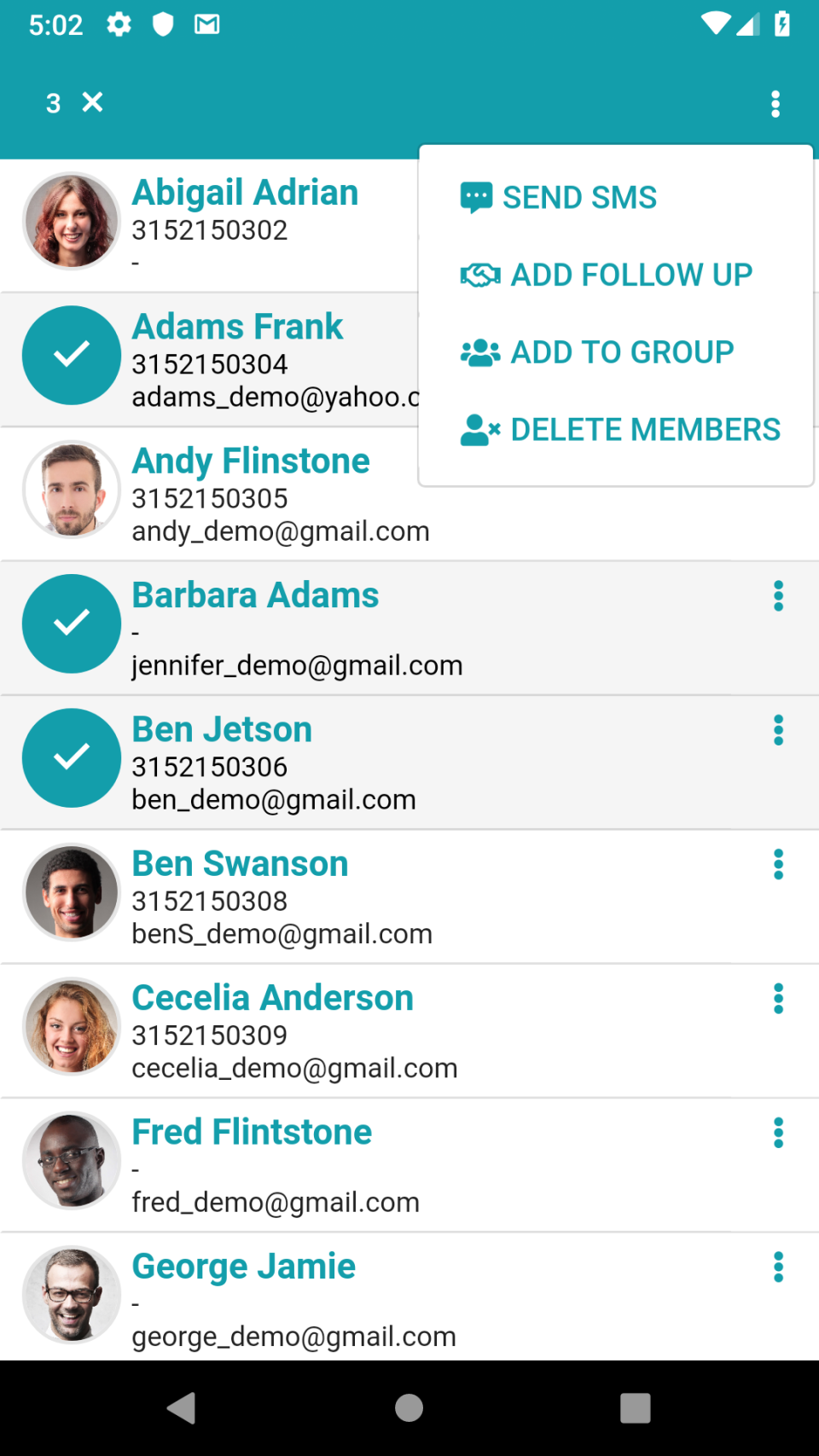 Organize member contact information