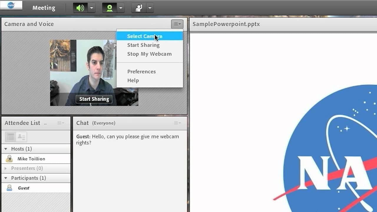 Adobe Connect Software - Setup Camera