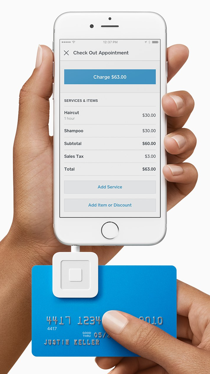 Accept all forms of payment with the Square Appointments app & Square hardware