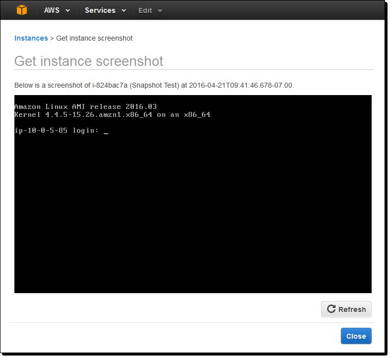 Amazon EC2 instance screenshot