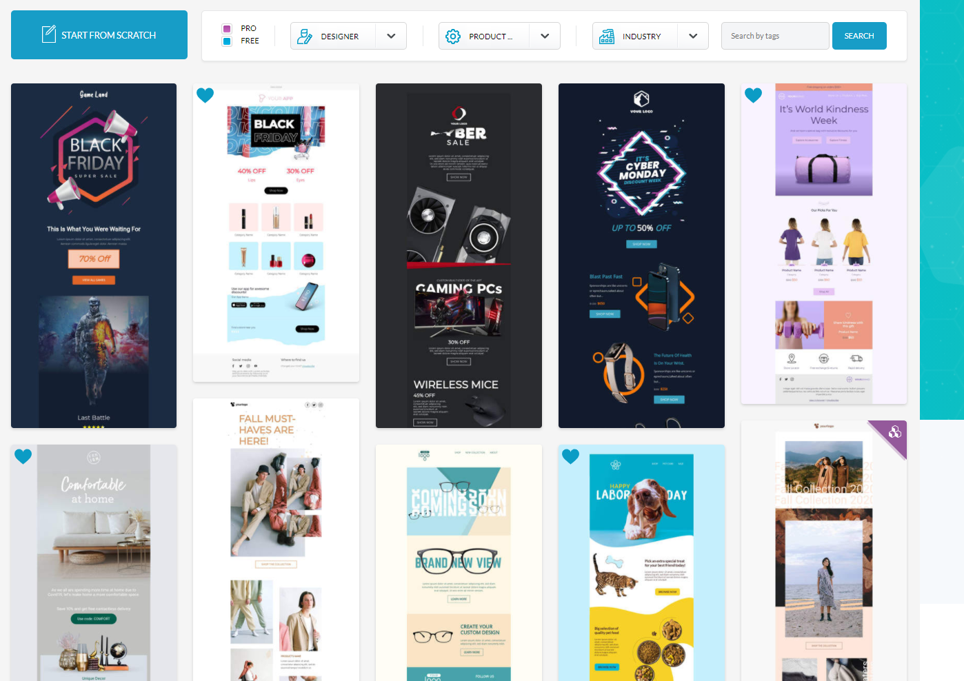 Start designing from scratch or from ~700 professionally produced email and landing page templates.