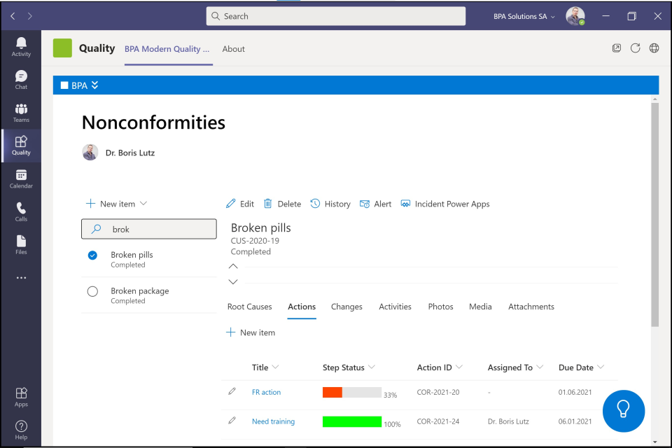BPAQuality365 Software - Use your QMS directly inside Microsoft Teams together with instant discussions and video conference, boosting productivity.
