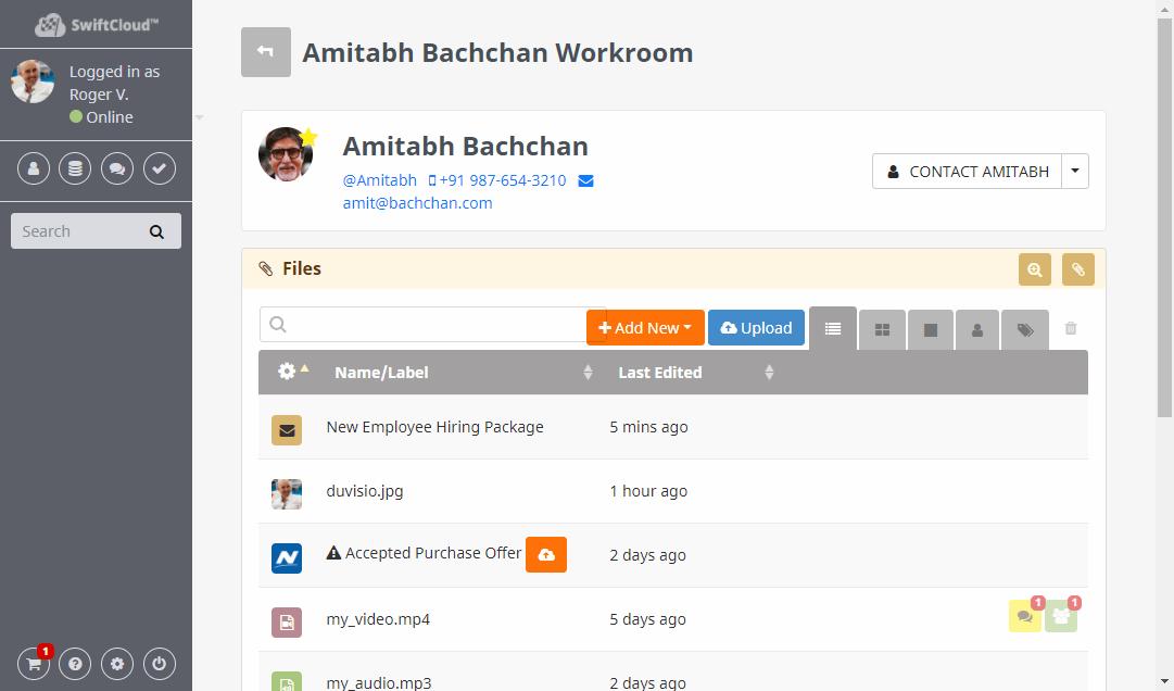 SwiftCloud participant management screenshot