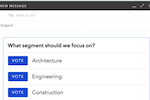 Mixmax screenshot: Create and insert polls and surveys into emails to get quick, direct and structured replies from recipients