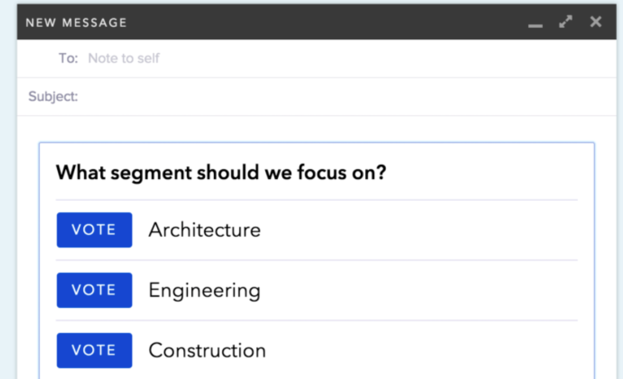Create and insert polls and surveys into emails to get quick, direct and structured replies from recipients