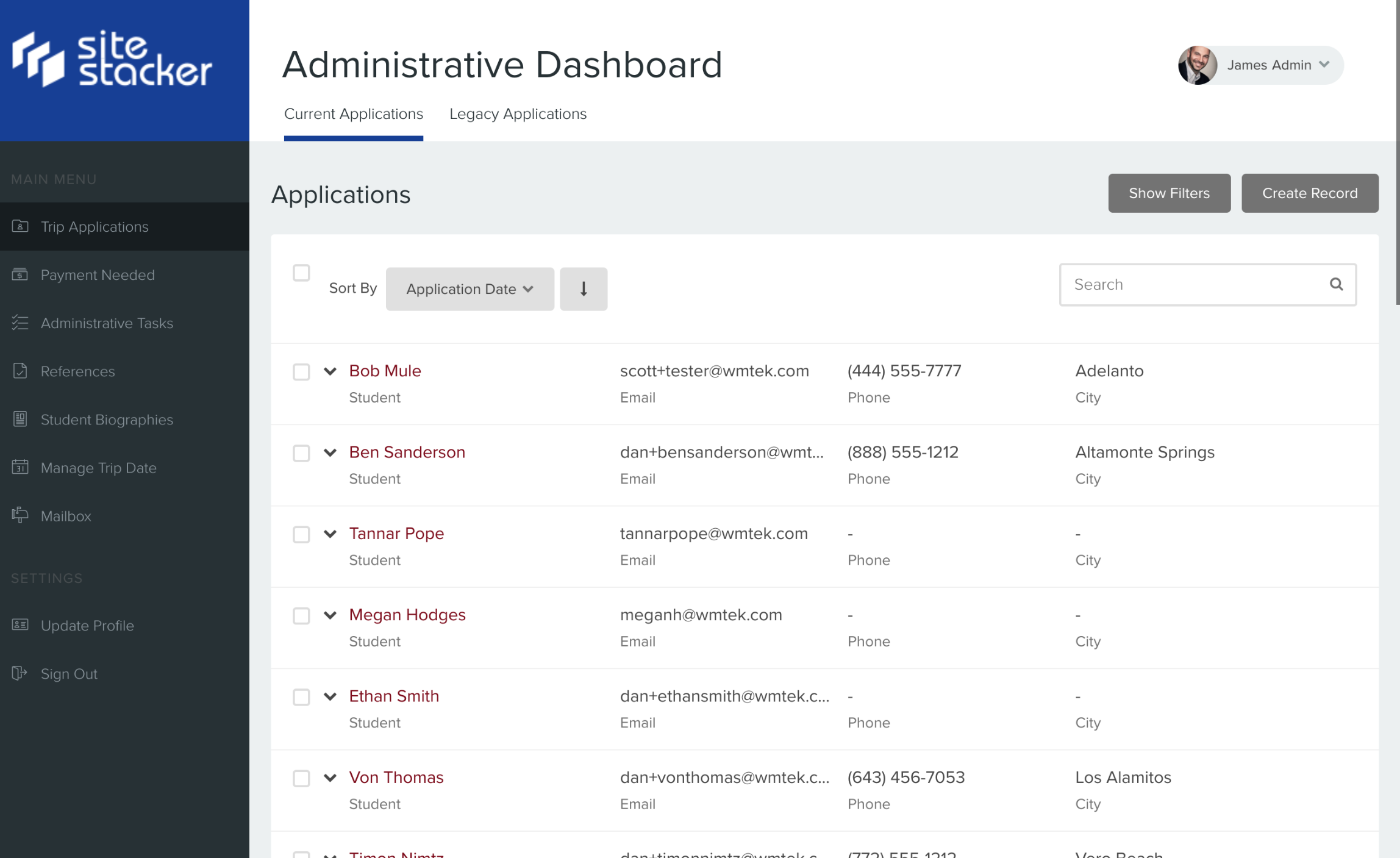 Administrative dashboard