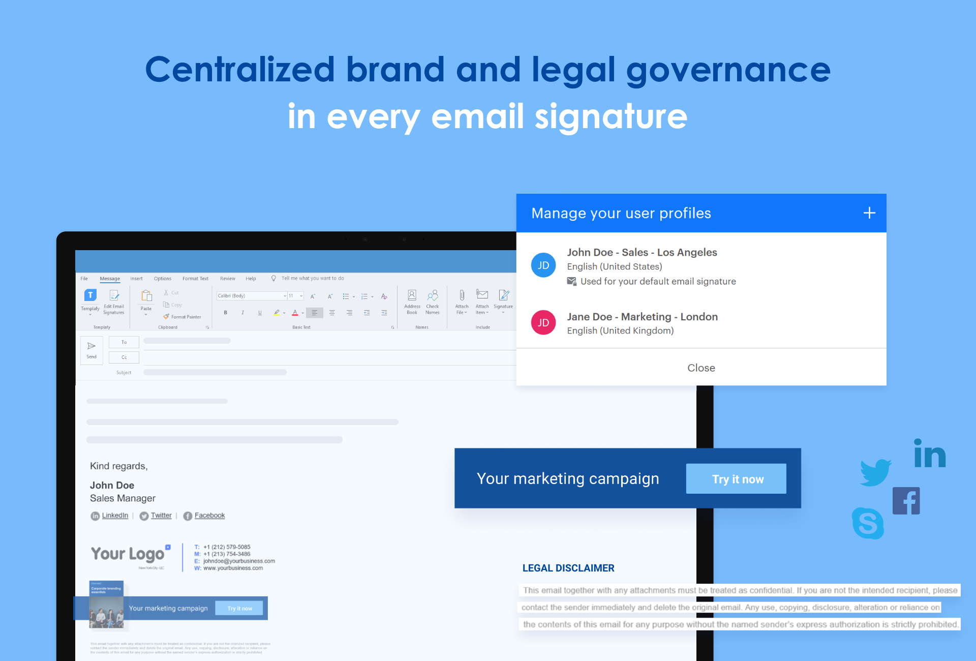 The Email Signature Manager is a cloud-based solution that operates within your enterprise security walls and provides central management of all your enterprise's email signatures including email campaigns.