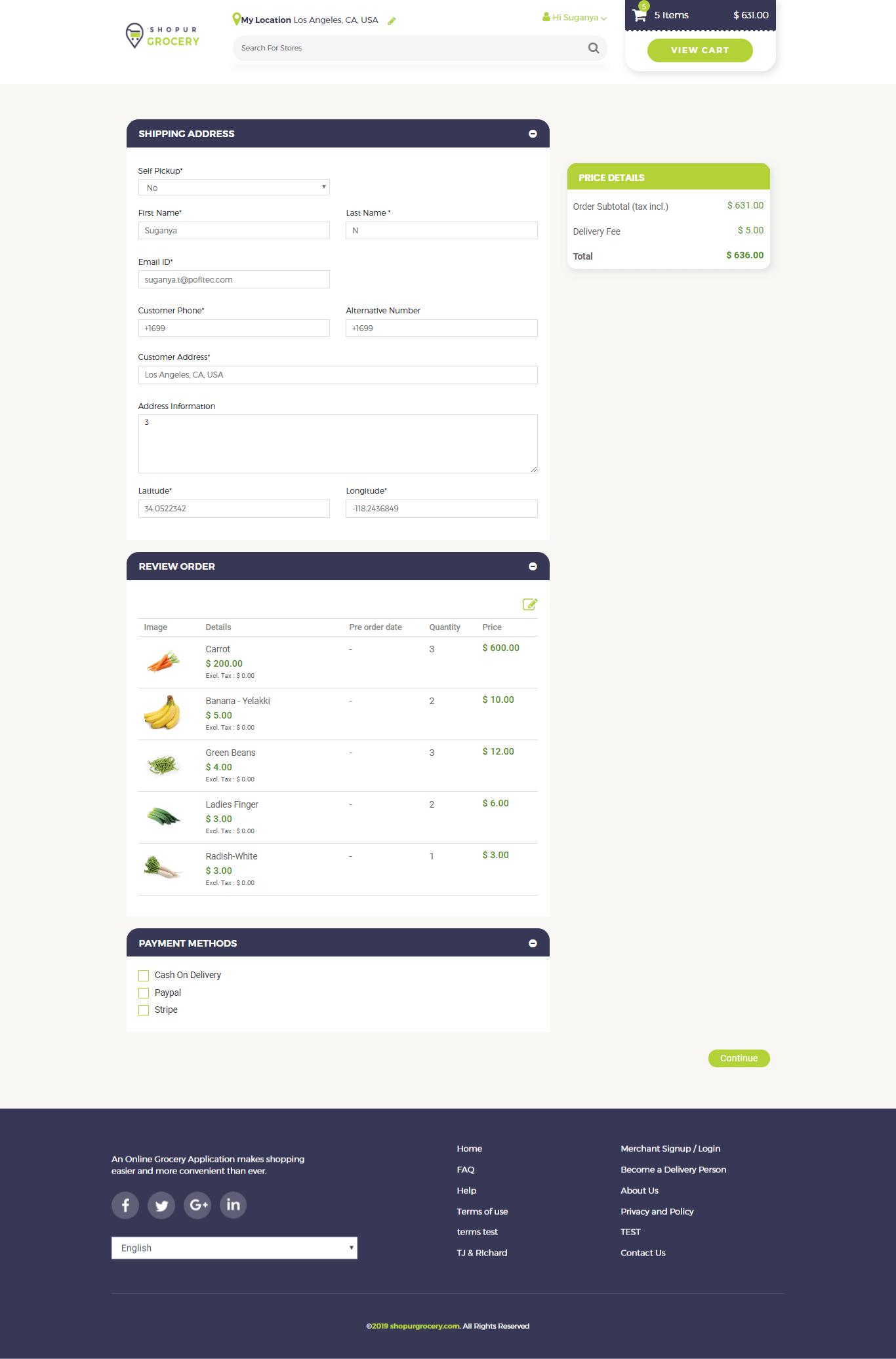 ShopurGrocery updating shipping address